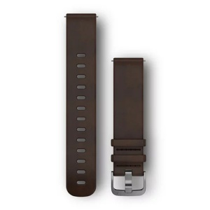 GARMIN Quickfit 20mm Replacement Leather Band Dark Brown Lrg 010-12691-01