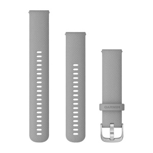 Garmin Quick Release 20mm Grey Silicone Band with Silver Stainless Steel Hardware 010-12924-00