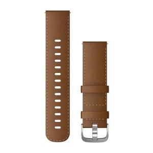 Garmin Quick Release 22mm Brown Italian Leather Band with Silver Hardware 010-12932-24