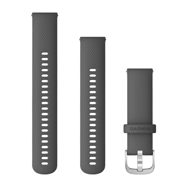 Garmin Quick Release 22mm Shadow Gray Silicone Band with Silver Hardware 010-12932-20